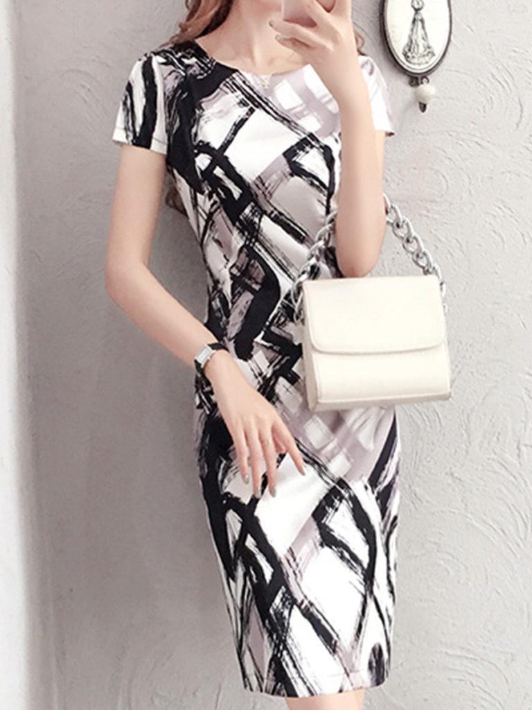 Round Neck Print Bodycon Dress