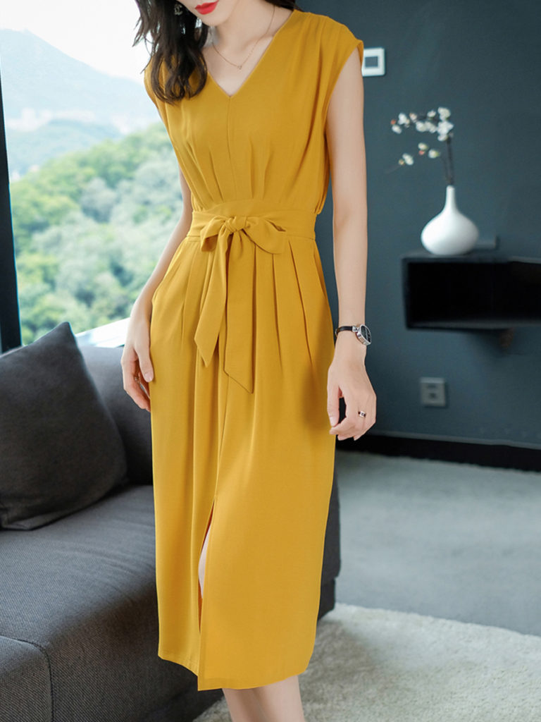 V Neck Patch Pocket Slit Plain Maxi Dress