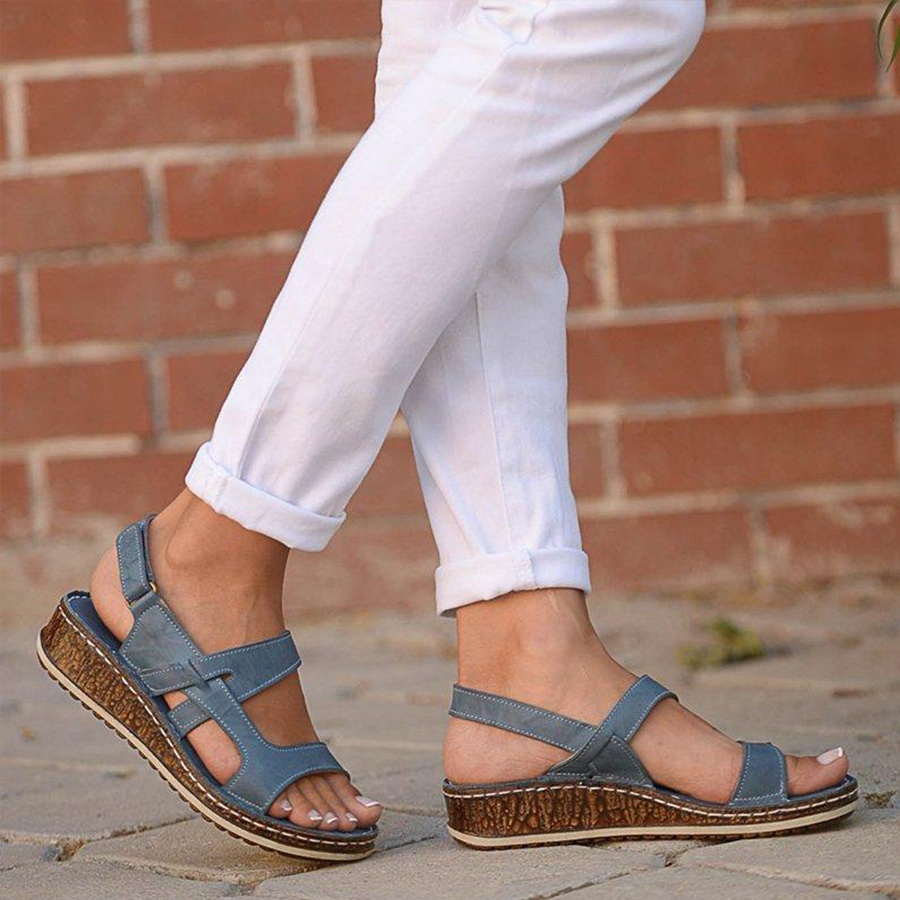 Plain Peep Toe Casual Travel Wedge Sandals
