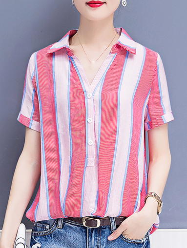 Polyester Turn Down Collar Printed Striped Short Sleeve Blouses