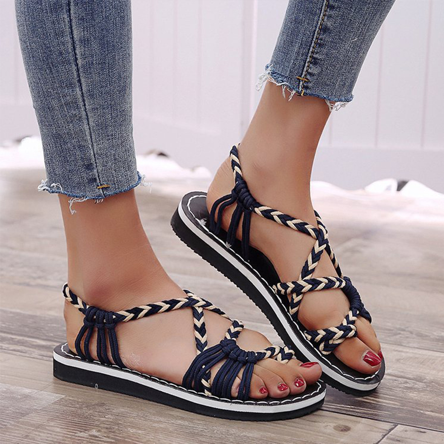 Color Block Flat Peep Toe Casual Travel Flat Sandals