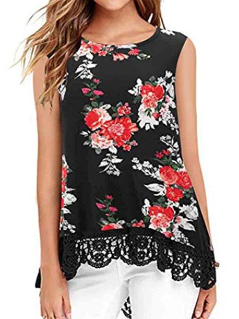 Round Neck Patchwork Floral Printed Sleeveless T-Shirts