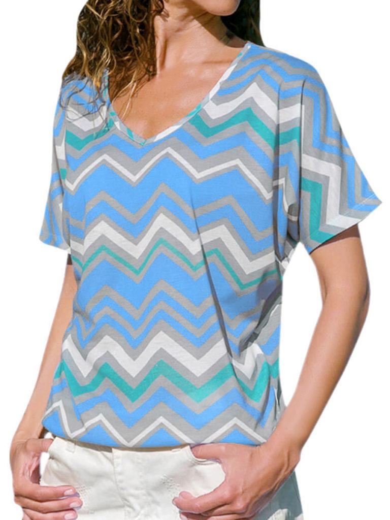 Autumn Spring Summer Polyester Women V-Neck Color Block Short Sleeve Short Sleeve T-Shirts