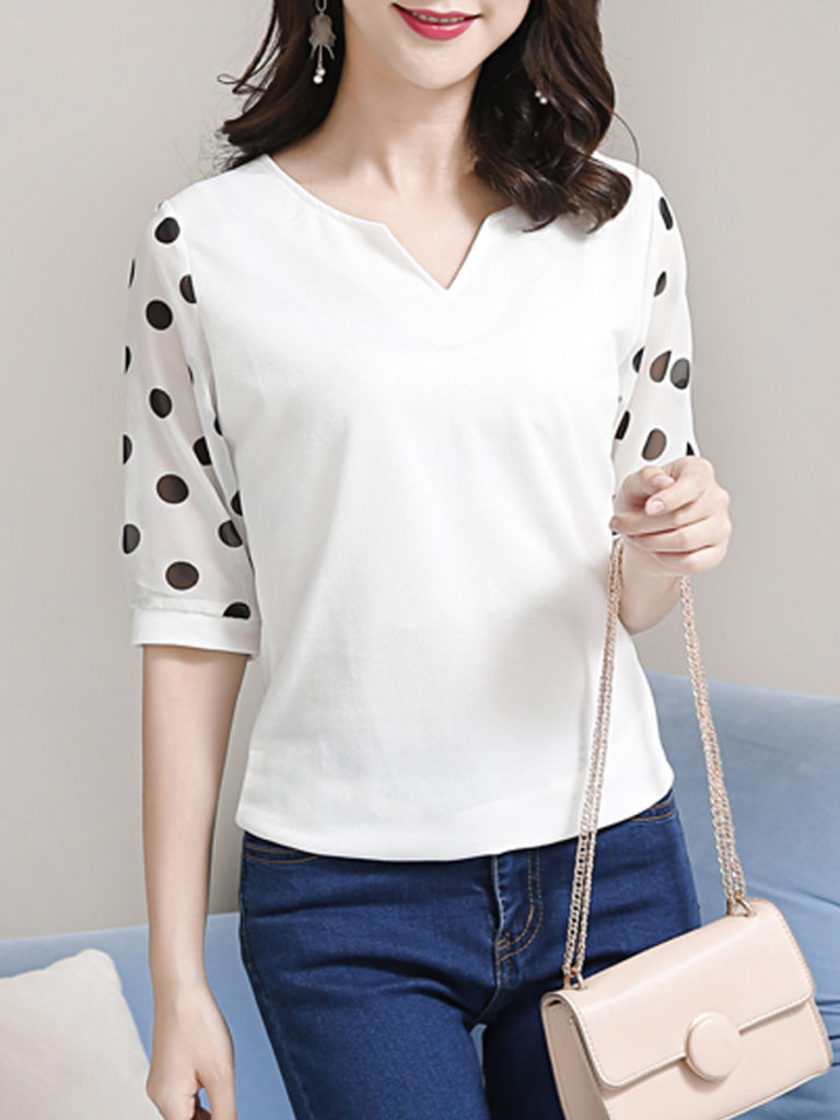 V Neck Patchwork Dot Blouses