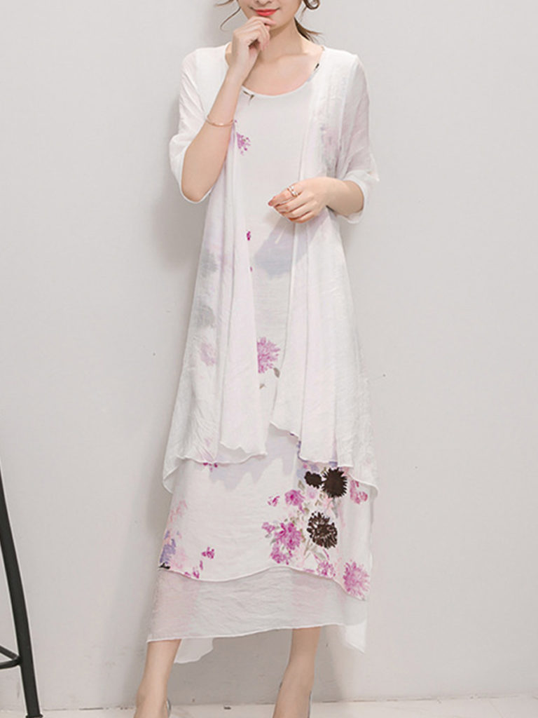 Band Collar Floral Printed Two-Piece Maxi Dress