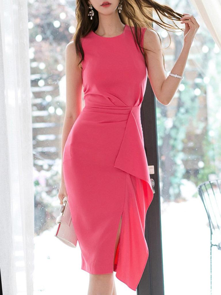 Round Neck Flounce Plain Bodycon Dress