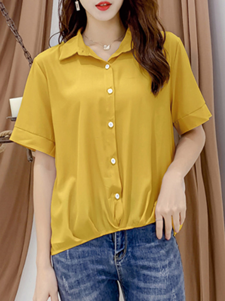 Turn Down Collar Patchwork Plain Blouses