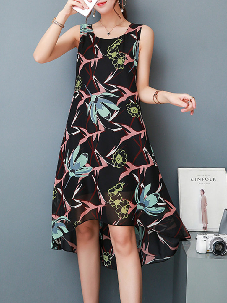 Round Neck Asymmetric Hem Print Shift Dress