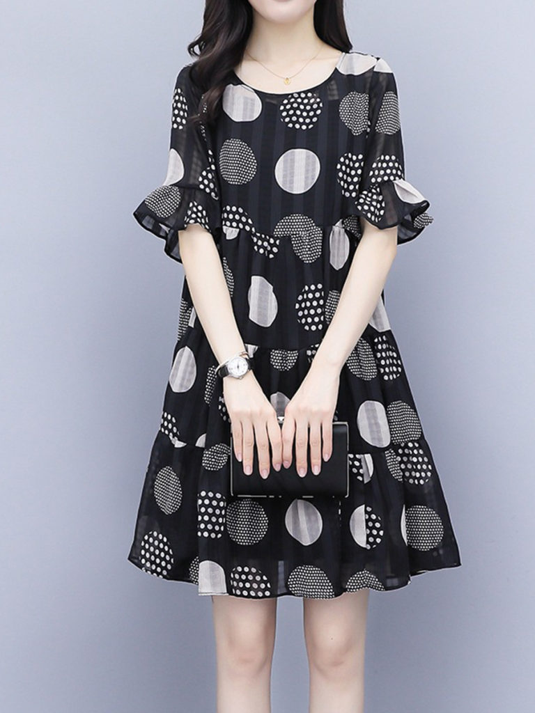 Round Neck Print Bell Sleeve Shift Dress