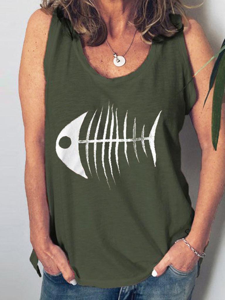 Round Neck Printed Sleeveless T-Shirts
