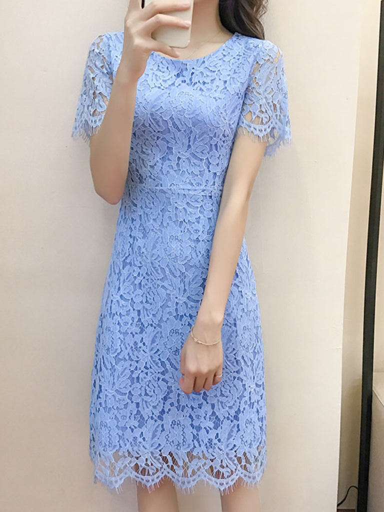 Round Neck Lace Bodycon Dress
