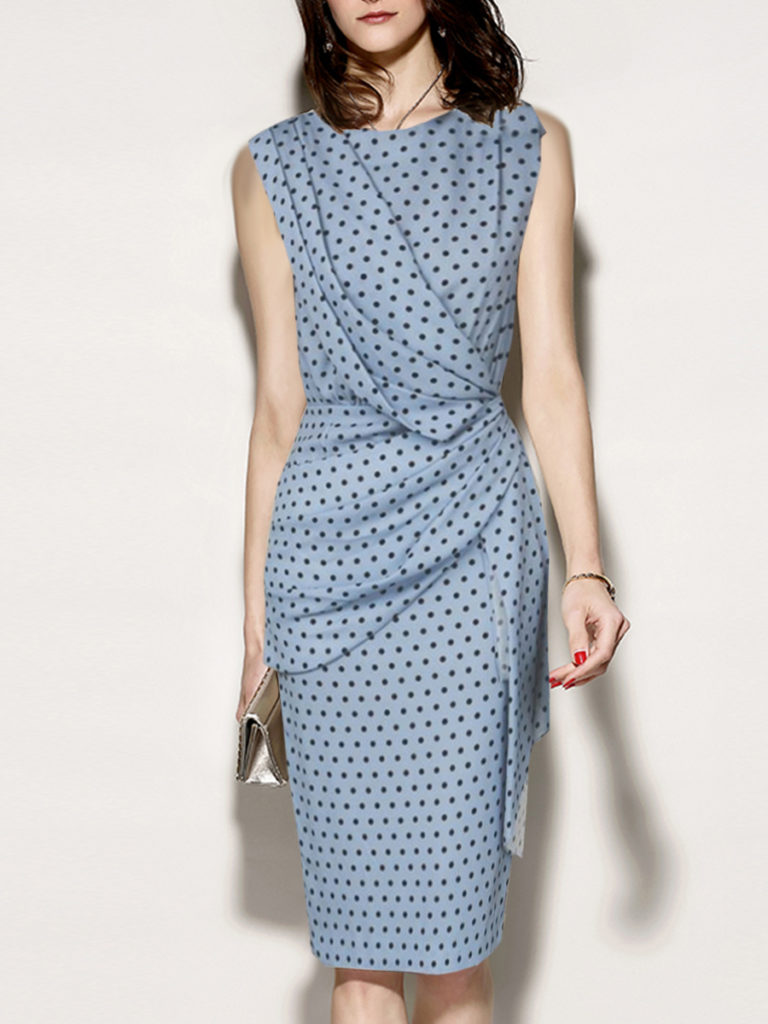 Round Neck Ruched Polka Dot Bodycon Dress
