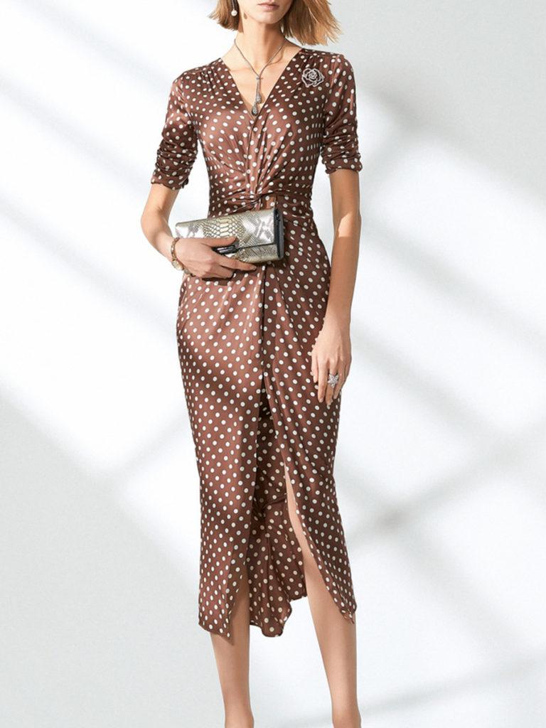 V-Neck Polka Dot Bodycon Dress