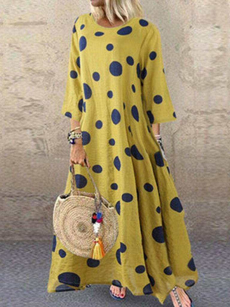 Round Neck Polka Dot Maxi Dress