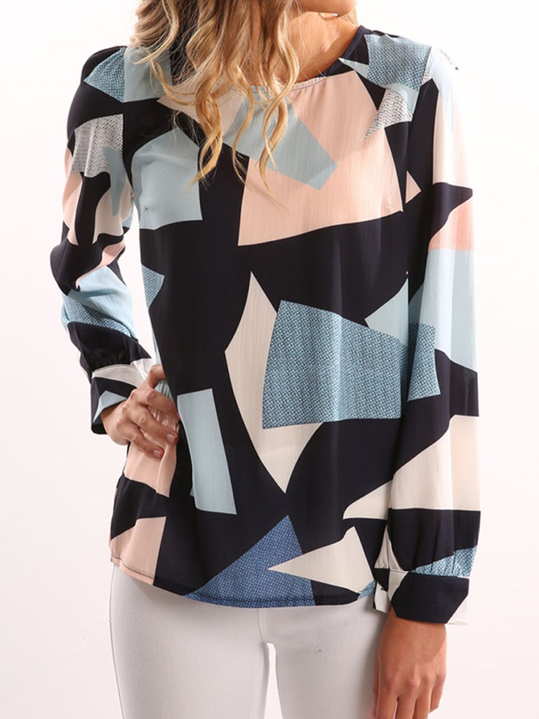 Round Neck Patchwork Color Block Long Sleeve Blouses