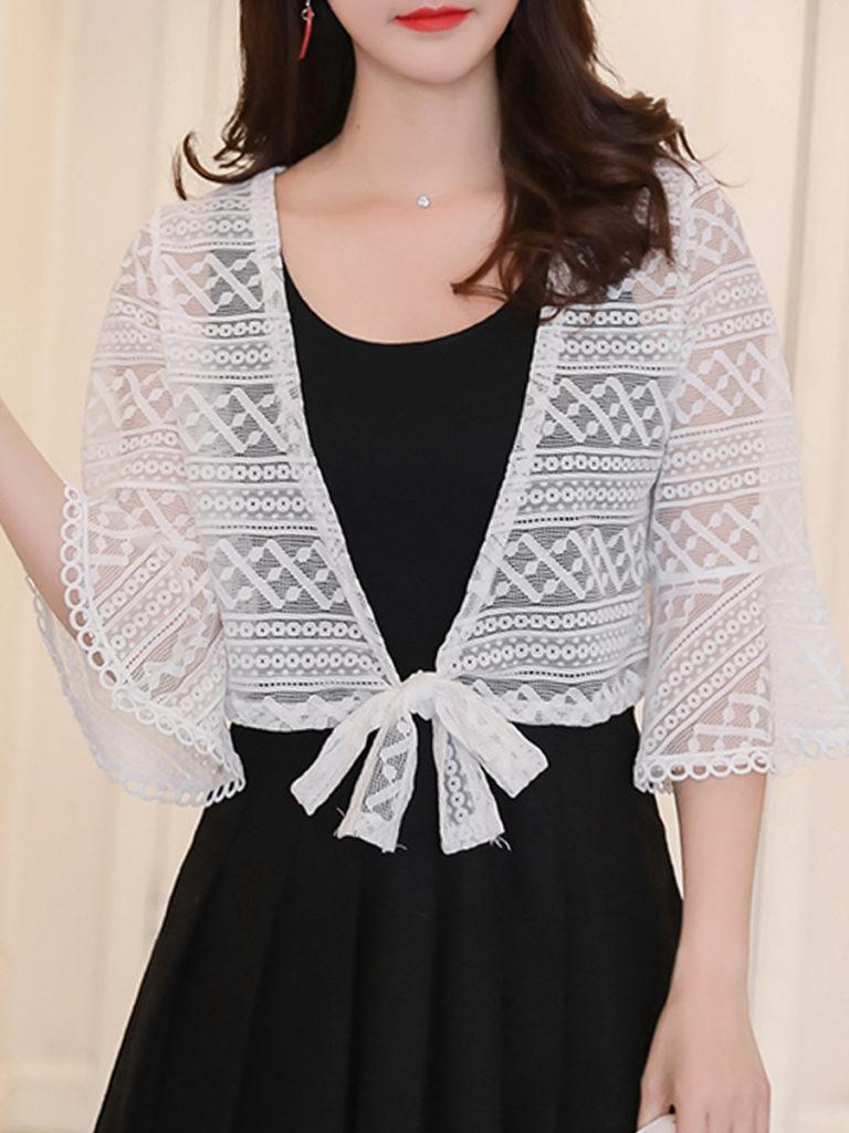 Patchwork Elegant Lace Three-Quarter Sleeve Cardigans
