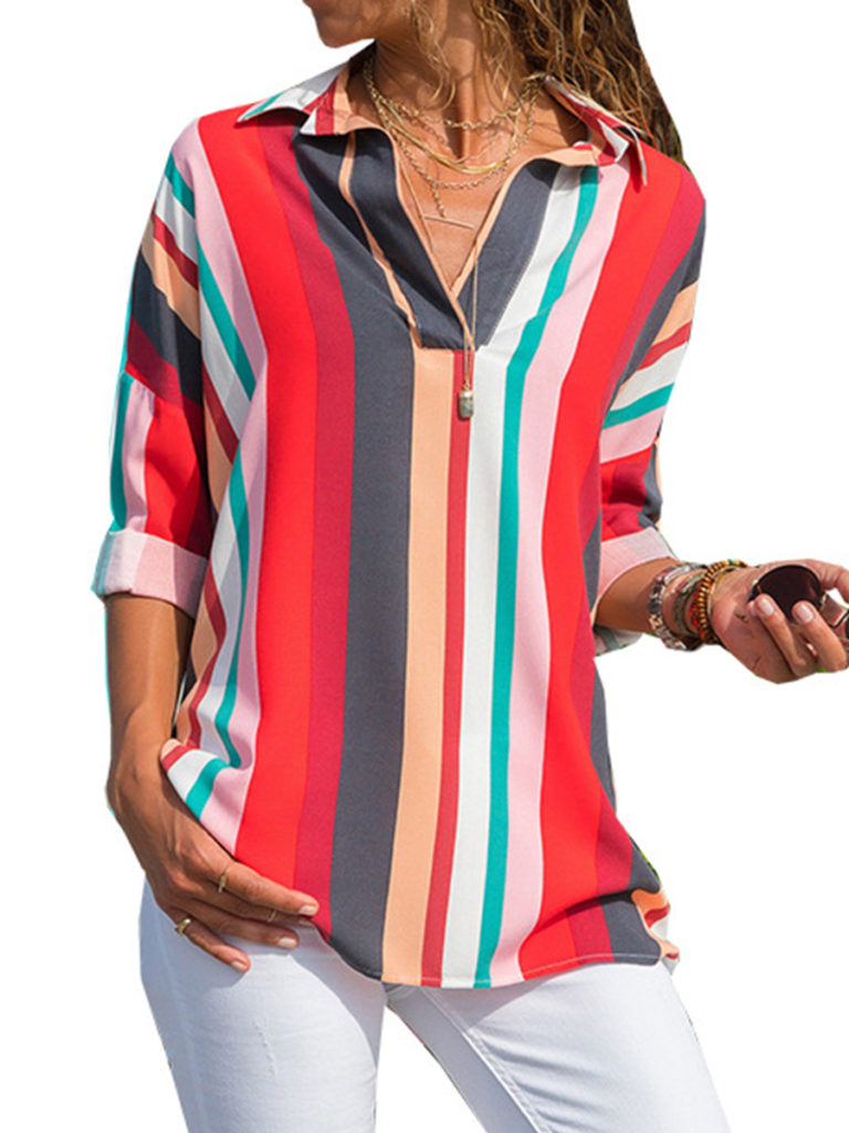 Lapel Patchwork Casual Color Block Striped Three-Quarter Sleeve Blouses