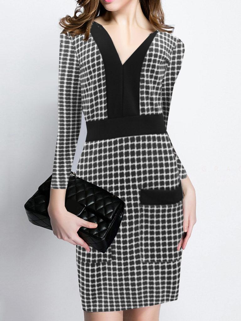 V-Neck Slit Pocket Plaid Bodycon Dress