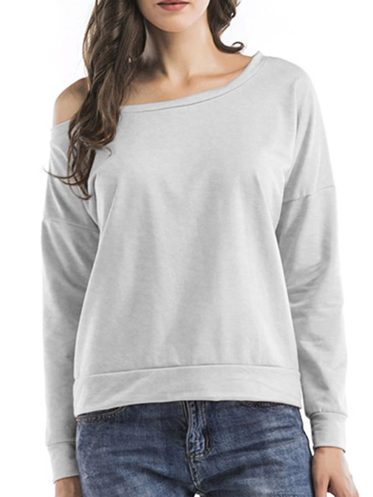 Single Shoulder Collar Patchwork Casual Plain Long Sleeve T-Shirts