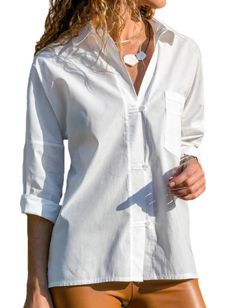Lapel Patchwork Plain Long Sleeve Blouses