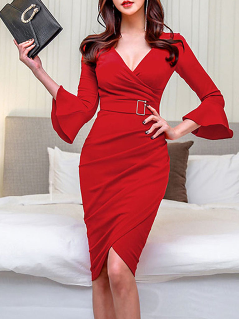 V-Neck Asymmetric Hem Plain Bell Sleeve Bodycon Dress