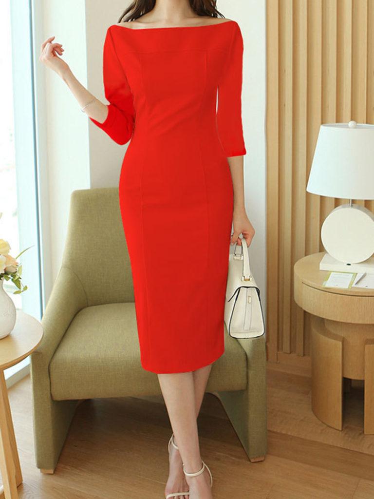 Word Collar Plain Bodycon Dress