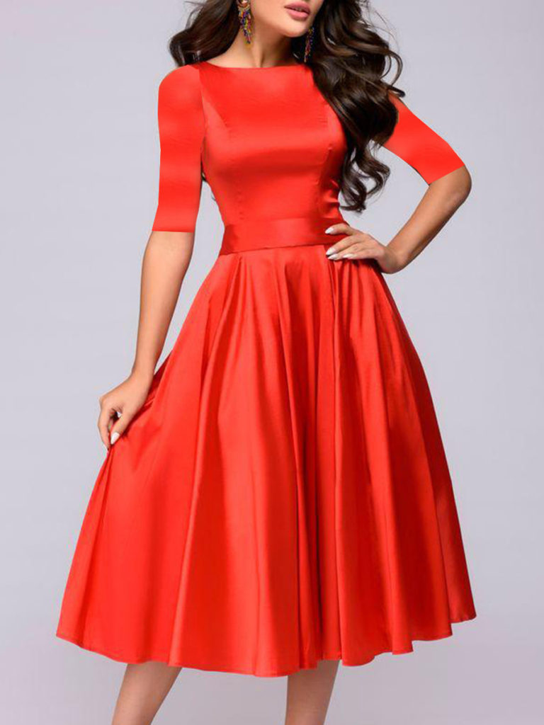 Round Neck Asymmetric Hem Plain Skater Dress