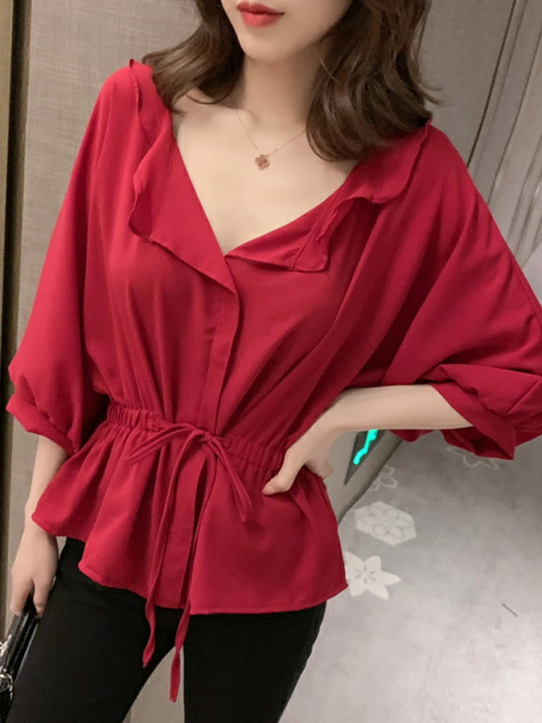 V Neck Patchwork Elegant Plain Three-Quarter Sleeve Blouses