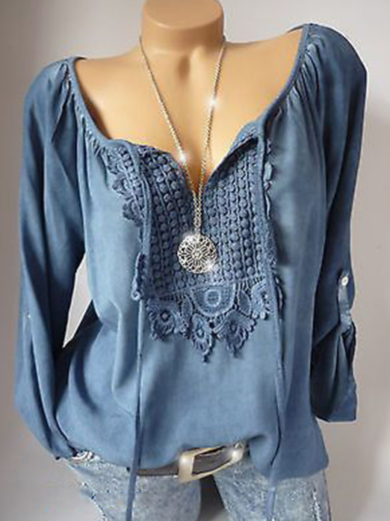 Round Neck Elegant Lace Long Sleeve Blouse