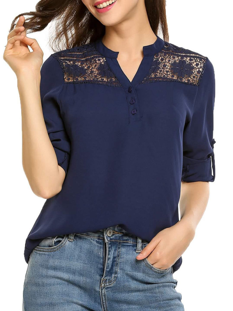 V Neck Patchwork Elegant Lace Long Sleeve Blouse