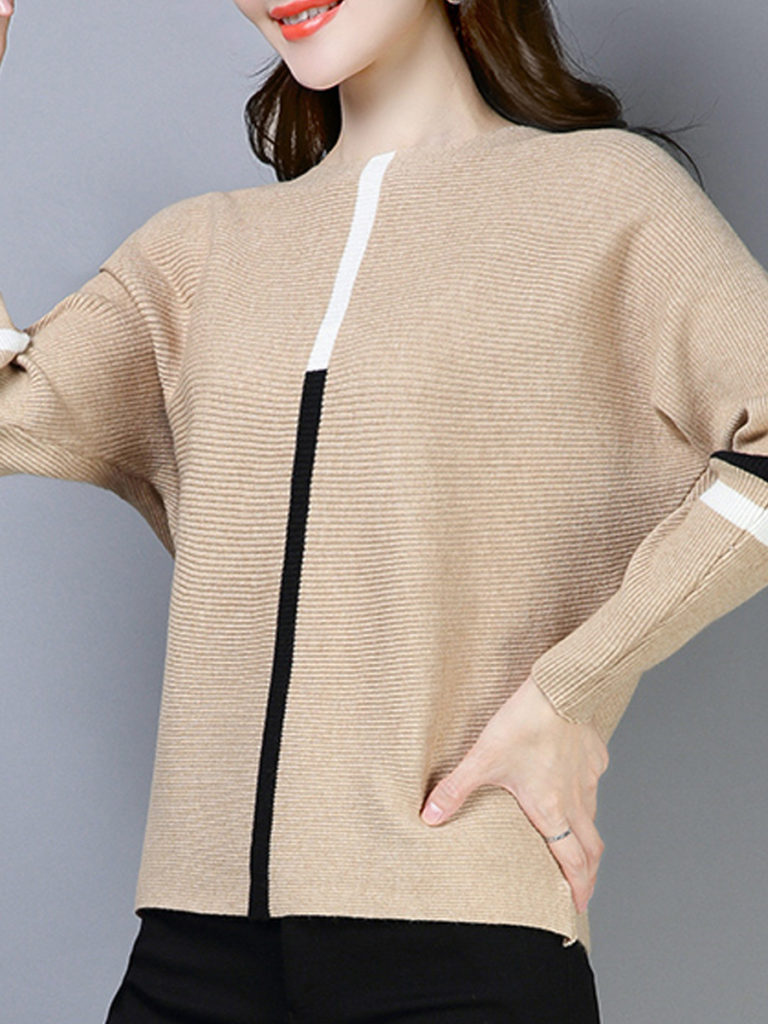 Round Neck Elegant Striped Batwing Sleeve Long Sleeve Knit Pullover