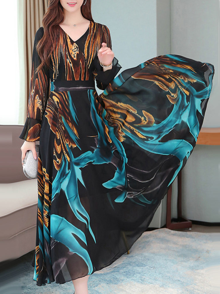 V-Neck Printed Bell Sleeve Maxi Dress