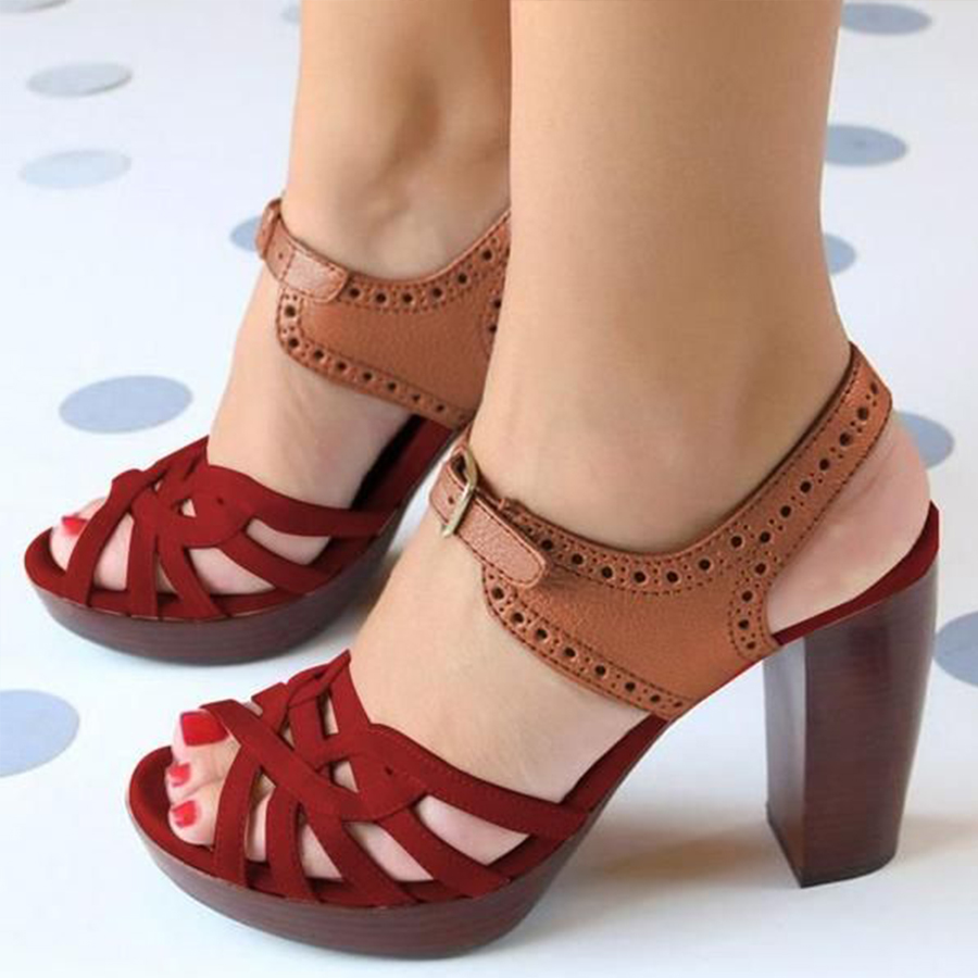 Chunky High Heeled Peep Toe Date Travel Sandals