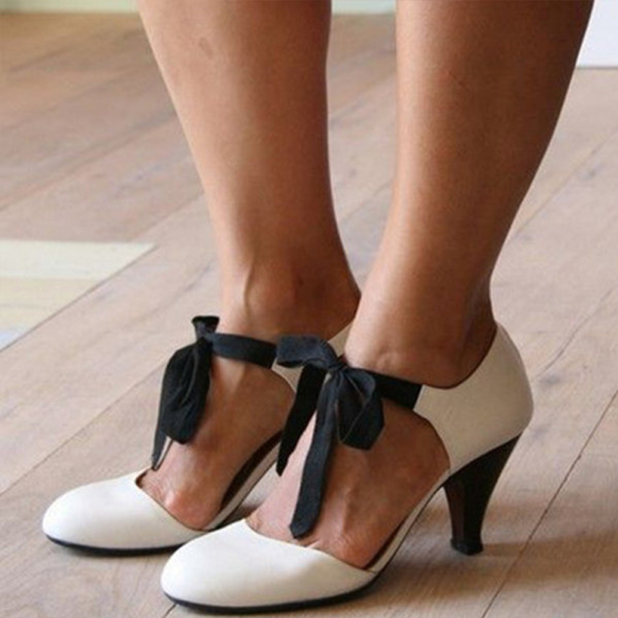 Plain Chunky High Heeled Round Toe Date Travel Pumps