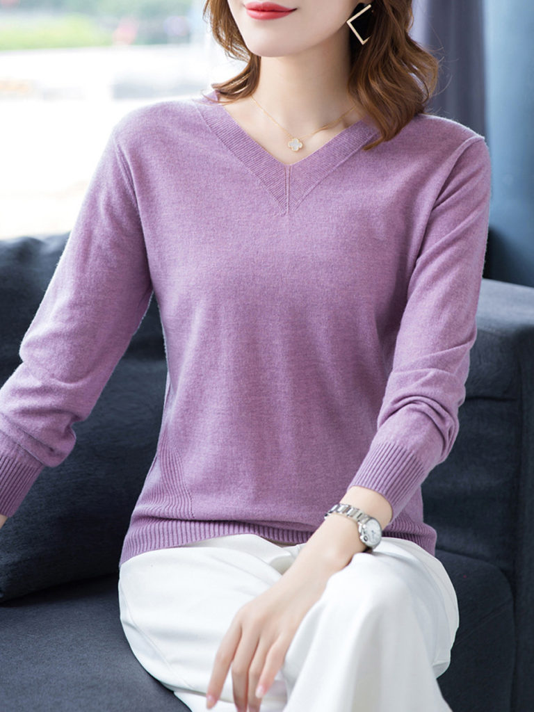 V Neck Patchwork Brief Plain Long Sleeve Knit Pullover