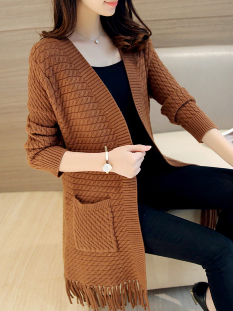 Patchwork Brief Plain Long Sleeve Knit Cardigan