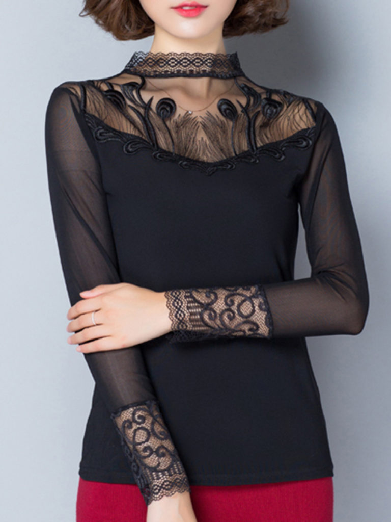 Short High Collar Patchwork Elegant Lace Long Sleeve T-Shirt
