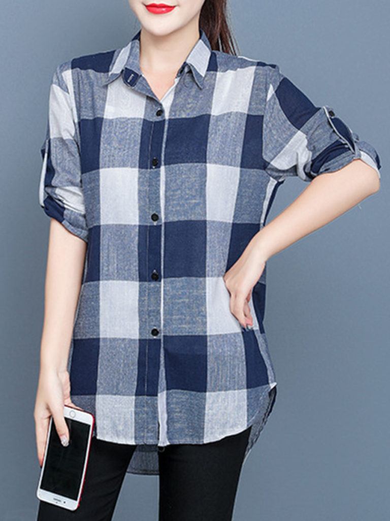 Lapel Patchwork Medium Brief Plain Long Sleeve Blouse
