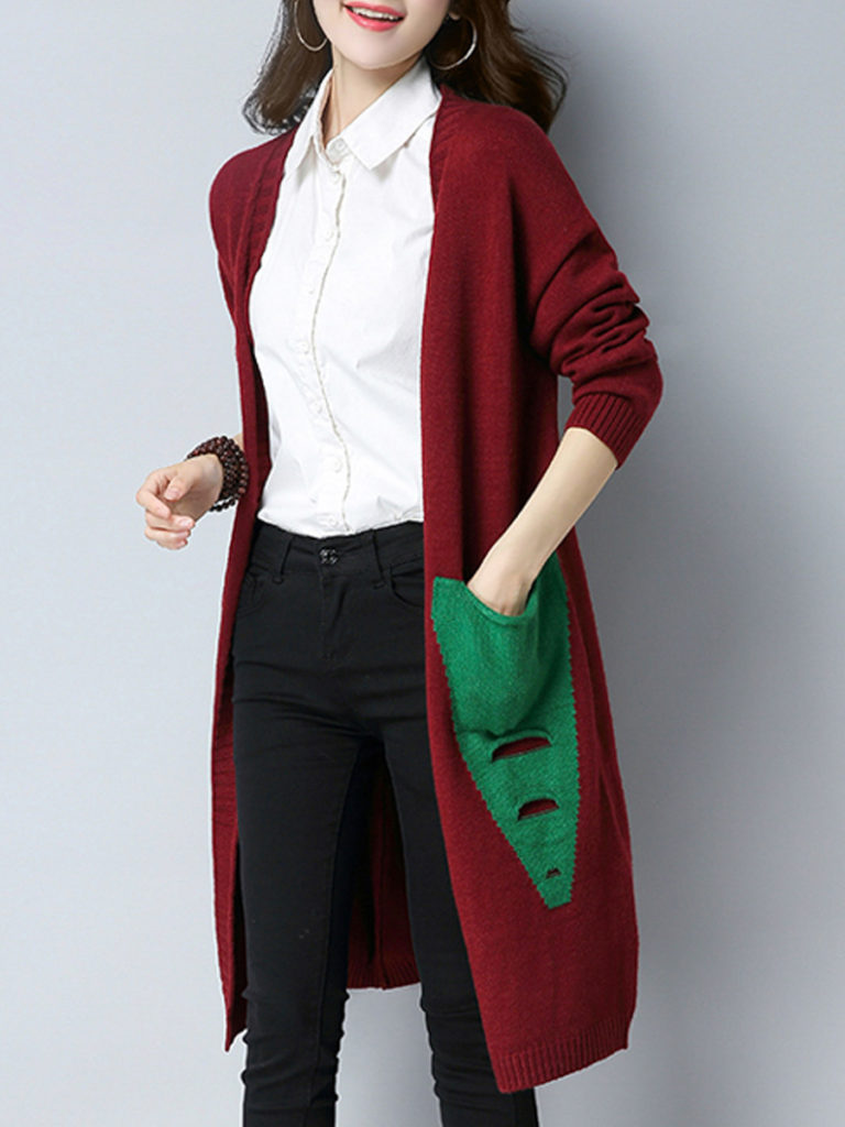 Patchwork Long Elegant Long Sleeve Knit Cardigan