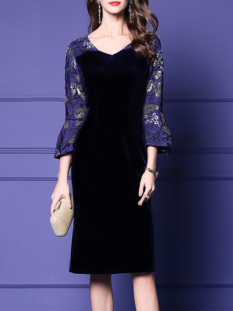 Classic Round Neck Three-Quarter Sleeve Printed Colour Splicing Dress