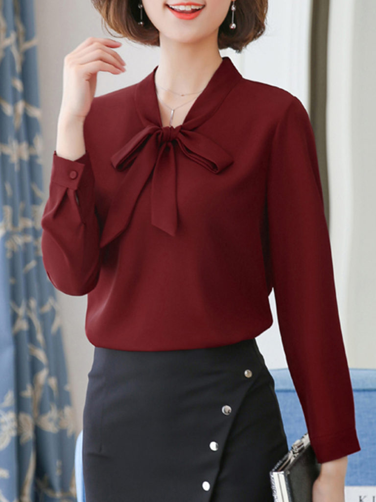 Sweet V Neck Pure Colour Bowknot Belted Chiffon Blouse