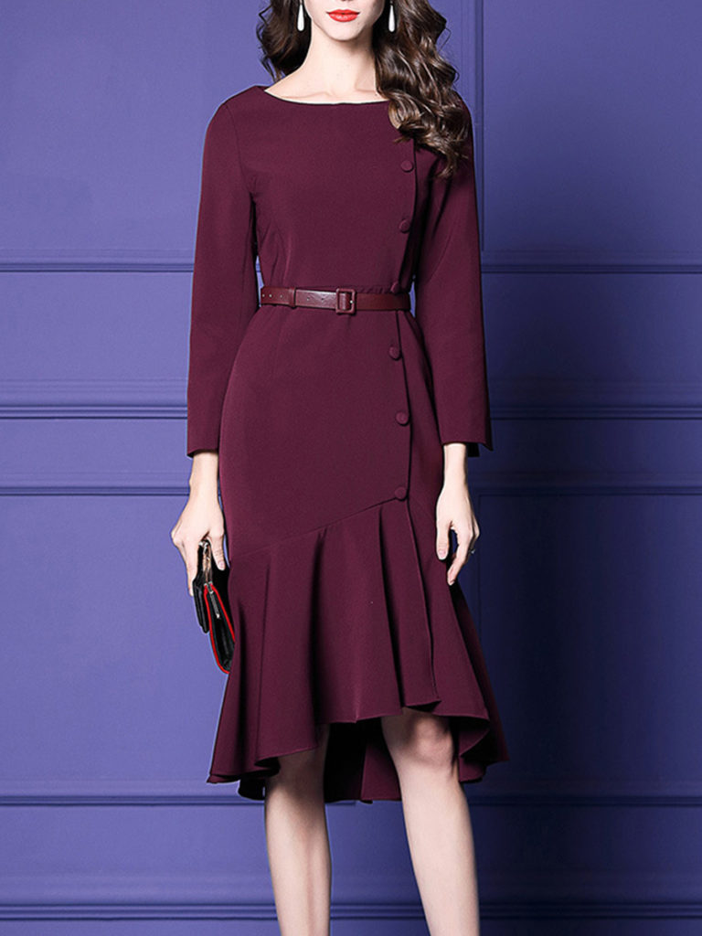 Elegant Long Sleeve Round Neck Bodycon Fishtail Hem Dress