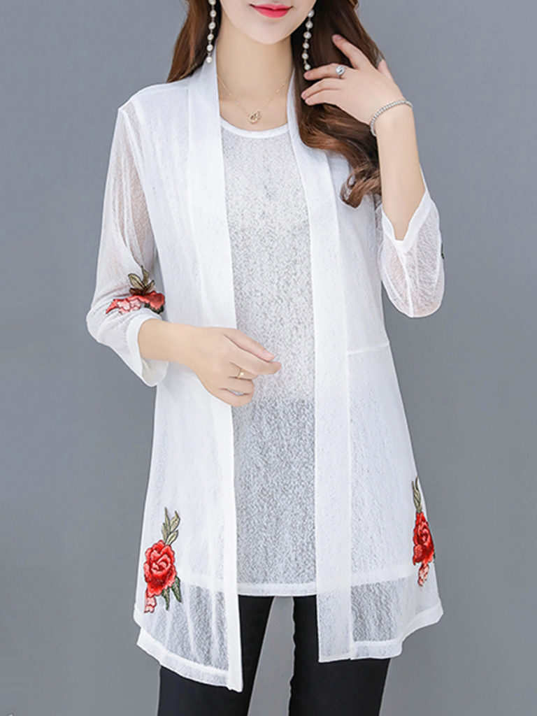 Patchwork Elegant Embroidery Three-Quarter Sleeve Cardigan