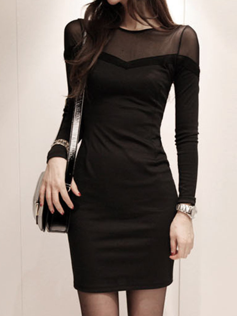 Round Neck Patchwork Plain Bodycon Dress