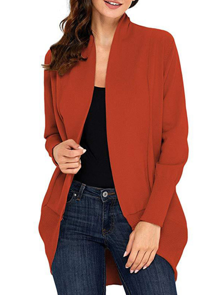 Patchwork Casual Plain Long Sleeve Knit Cardigan
