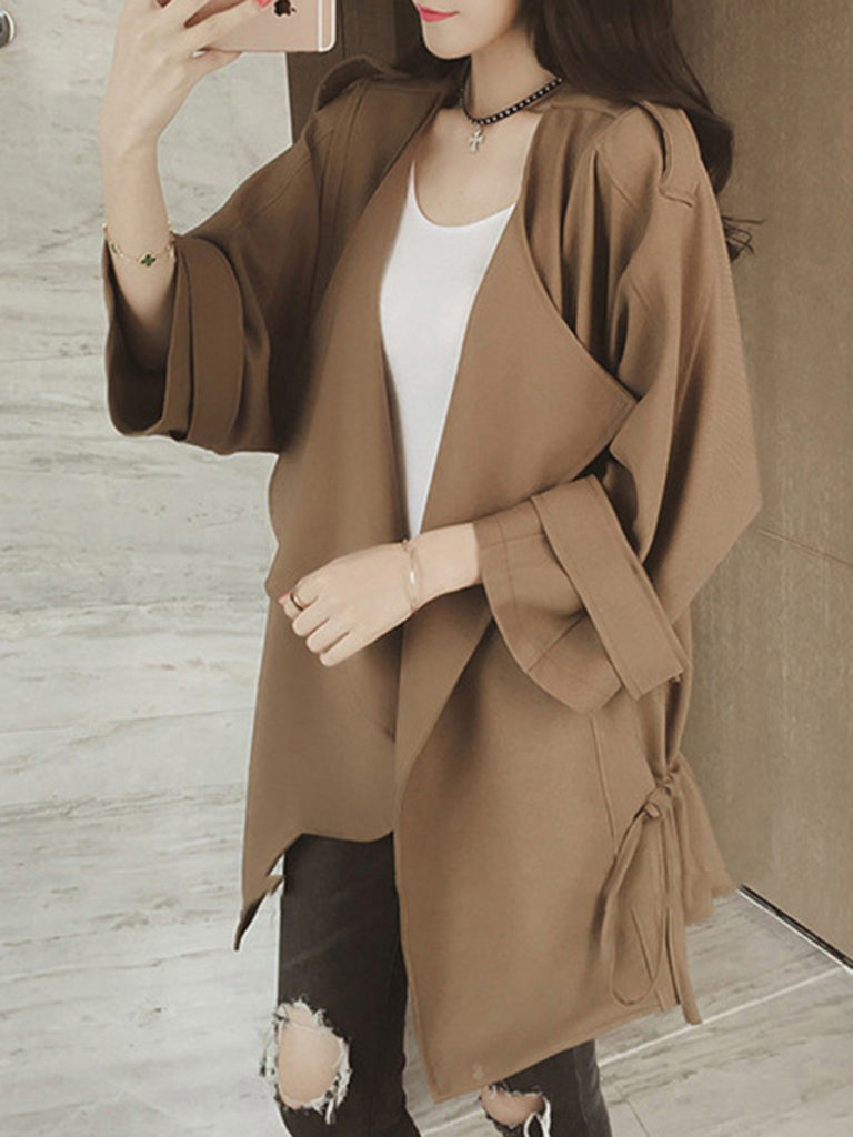 Asymmetric Neck Drawstring Plain Trench Coat