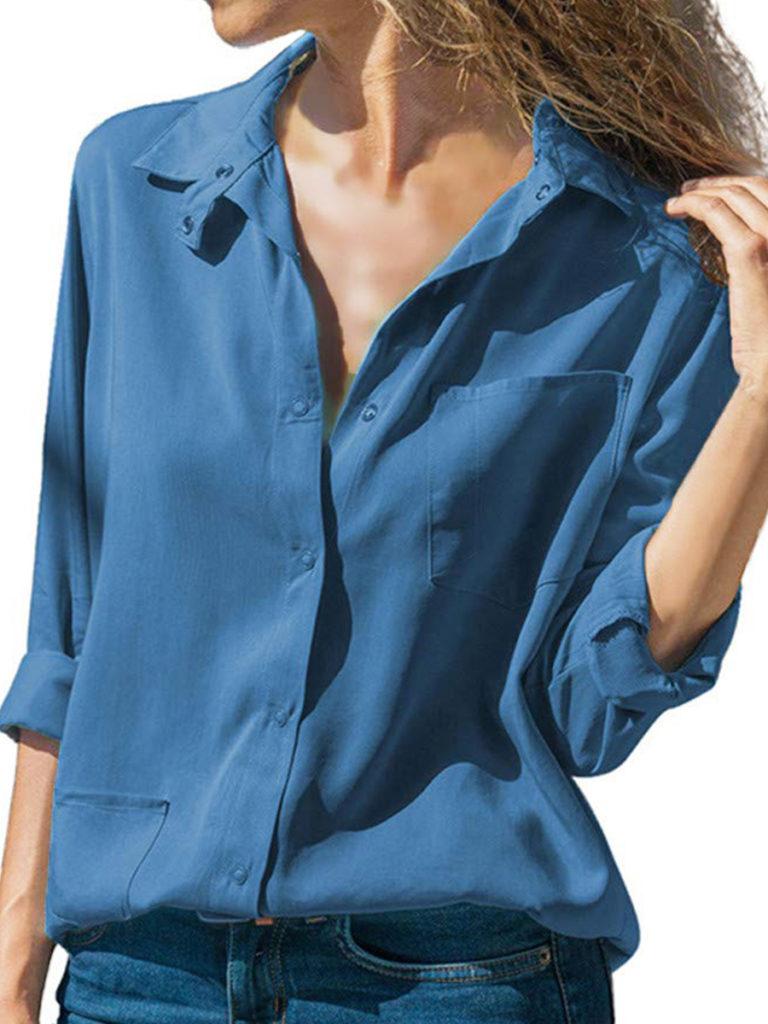 Lapel Patchwork Brief Plain Pockets Long Sleeve Blouse