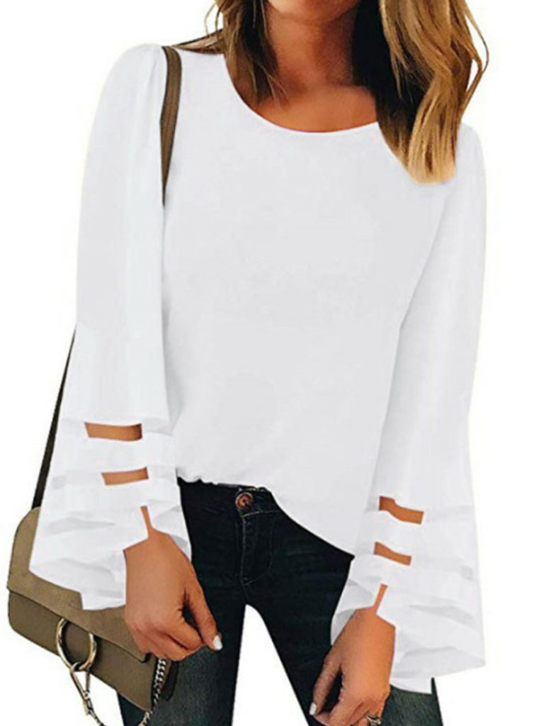 Round Neck Patchwork Elegant Plain Long Sleeve Blouse