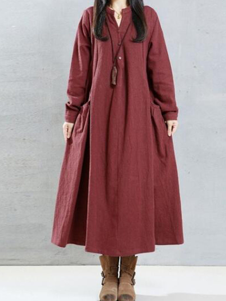 V-Neck Single Breasted Plain Maxi Dress