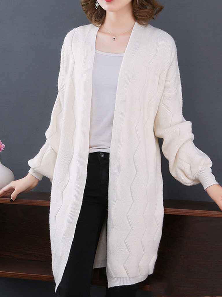 Patchwork Elegant Plain Long Sleeve Knit Cardigan